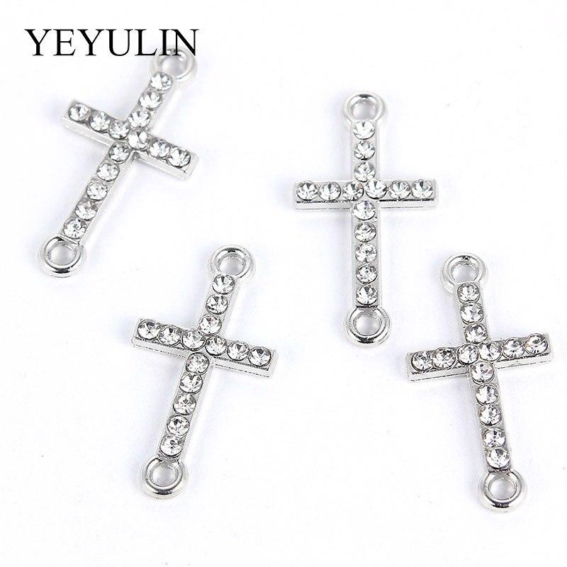DIY ожерелье ювелирных изделий 10 шт. белый K сплав с украшением в виде кристаллов религия крест Разъемы бусины браслет подвески