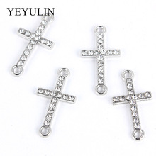 DIY Pendant Necklace Jewelry Findings  10 Pcs White K Alloy Crystal Religion Cross Connectors Beads Bracelet Charm