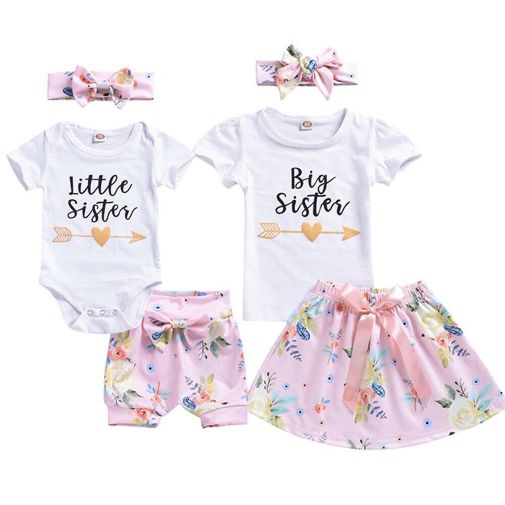 Little Big Sister Matching Top Newborn Baby Girl Romper Bodysuit Outfits T-shirt