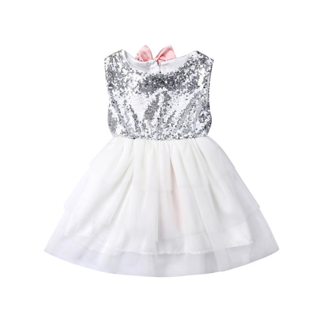 d80252cf0b9eb US $5.21 21% OFF|1 5T Toddler Kid Baby Girl Sequins Bow Princess Dress  Party Wedding Formal Tutu Dress Sleeveless Sundress-in Dresses from Mother  & ...