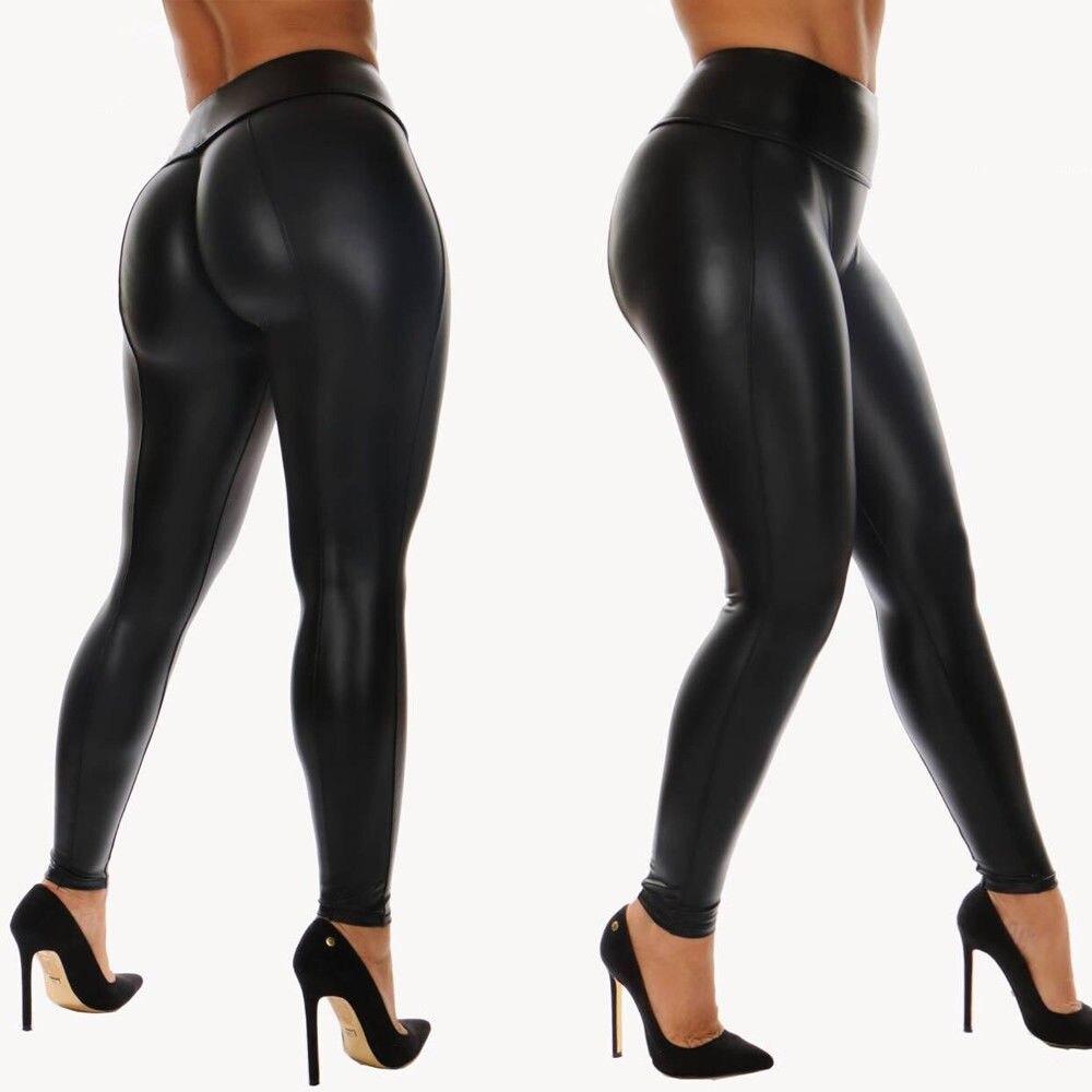 Women High Waist Fitness PU Pants Wet Look Zipper Faux Leather Leggings