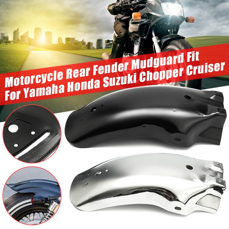 Universal Motorcycle Rear For Fender Mud Flap Mudguard For Yamaha/Honda/Suzuki For Chopper Cruiser Black Silver