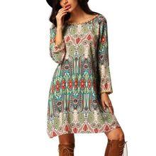 Summer Dresses HOT Plus Size Women Boho Floral Long Sleeve O-Neck Casual Loose Chiffon Mini