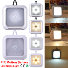 Ultra Slim Portable Wall lamp PIR Motion Sensor LED Cabinet Light Square Night with hook  light D35