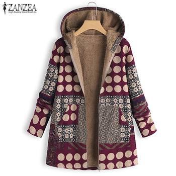 ZANZEA Vintage Women Winter Fur Fleece Long Sleeve Coat Female Hooded Outwear Print Jackets Casual Zipper Cardigans Plus Size 3