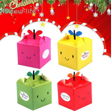 15 Pcs Christmas Eve Apple Box Small Leaf Smiley Gift Festive Candy Boxes For Party Favors Festival Supplies