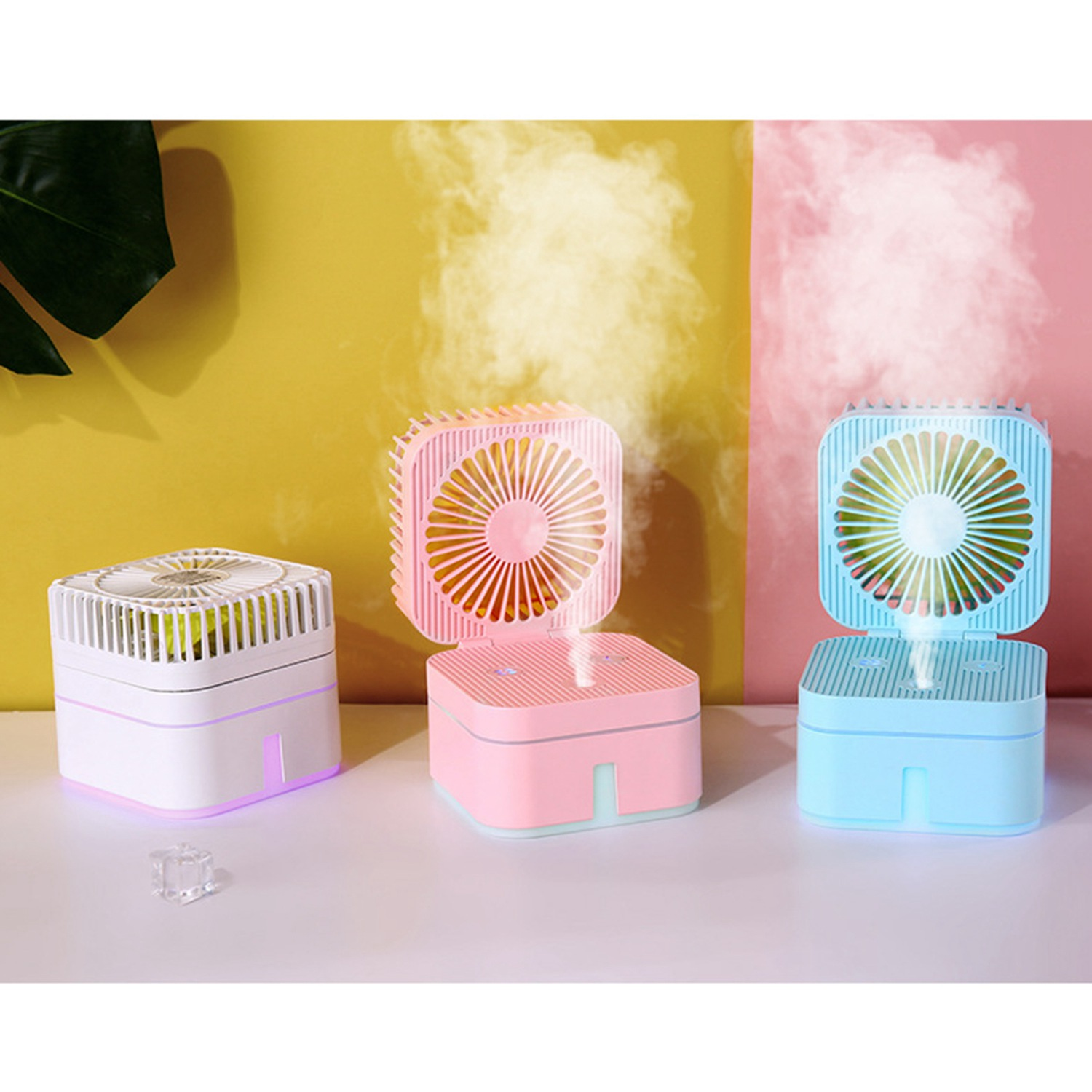USB Table Desk Personal Fan USB Rechargeable Humidifier Small Spray Fan Mini Household Nightlight Colorful Atmosphere Lamp Portable Touch Electric Cooling Fan for Home Office Table Color : Pink
