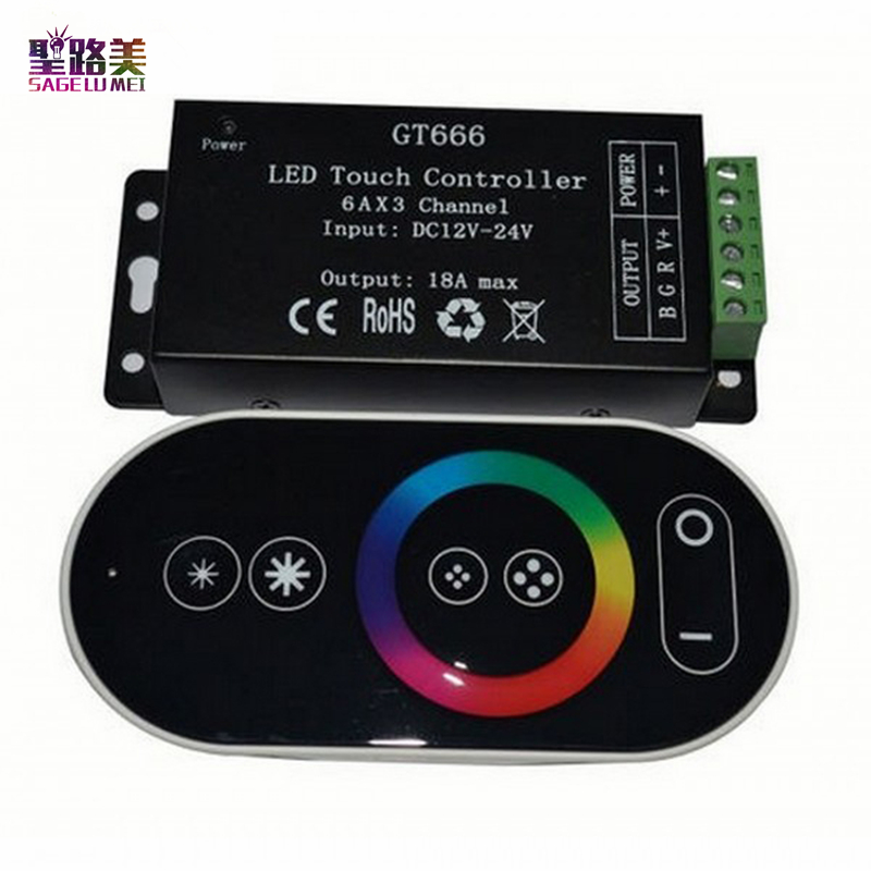 Kontrollues DC12V-24V 6Ax3channel 18A RF Wireless Touch RGB Kontrollues GT666 Paneli RGB RGB udhëhequr kontrollues i zbehtë për shirit të lehta të shiritit të udhëhequr