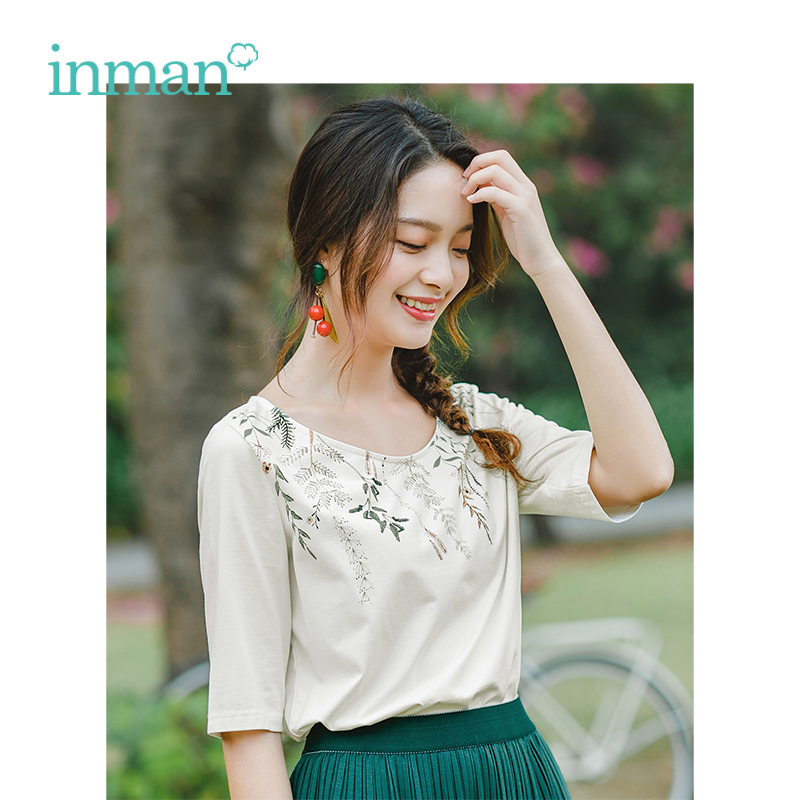INMAN 2019 Summer New Arrival O-neck Literary Print Retro Casual All Matched Slim Half Sleeves Women T-Shirt
