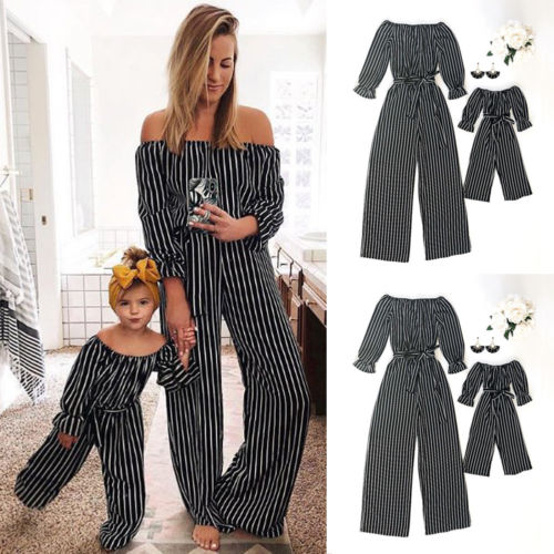 Fashion Striped Family Matching Clothes Mother And Daughter Clothing Mommy And Me Romper Women Baby Girl Casual Jumpsuit Outfits(China)