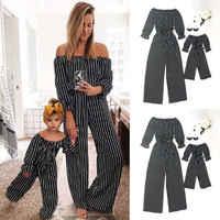 Mode Gestreiften Familie Passenden Kleidung Mutter und Tochter kleidung Mama und mich Strampler Frauen baby Mädchen Casual Overall Outfits