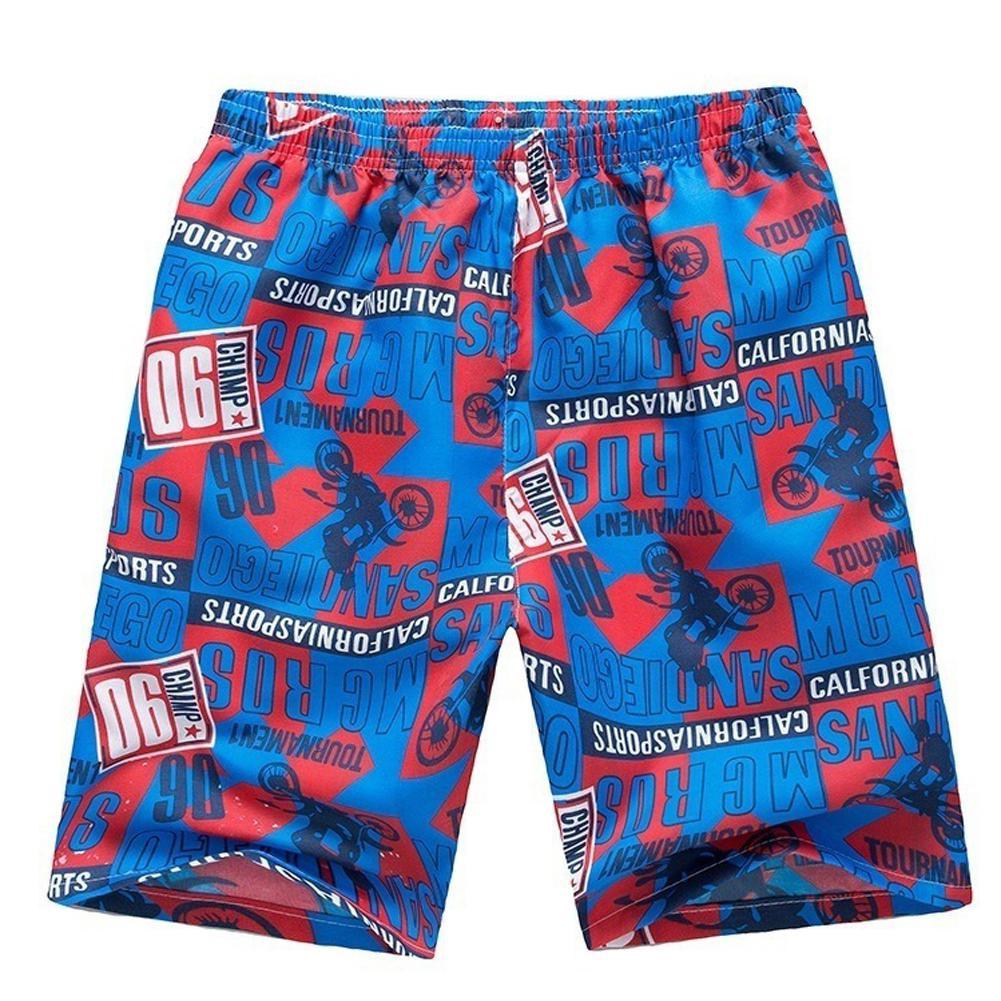 MISSKY Men Summer Shorts Outdoor Breathable Elastic Waist Fashion Printing Beach Shorts Random Color Male Clothes