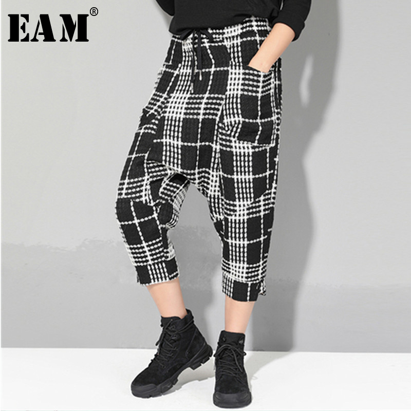 [EAM] 2019 New Autumn Winter High Elastic Waist Black Plaid Pocket Split Joint Loose Pants Women Trousers Fashion Tide JR359