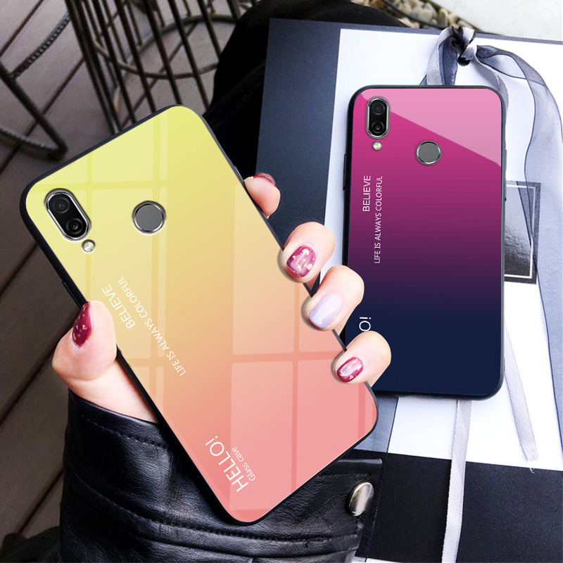 Xiaomi Redmi Note 7 Case Note7 Colored Gradient Aurora Tempered Glass Back Hard Cover for Xiaomi Redmi Note7 Phone Cases in Fitted Cases from Cellphones Telecommunications