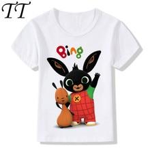 Детские Забавные футболки с рисунком кролика/кролика из мультфильма, милые футболки для мальчиков и девочек, детская летняя повседневная одежда для малышей, ooo5169
