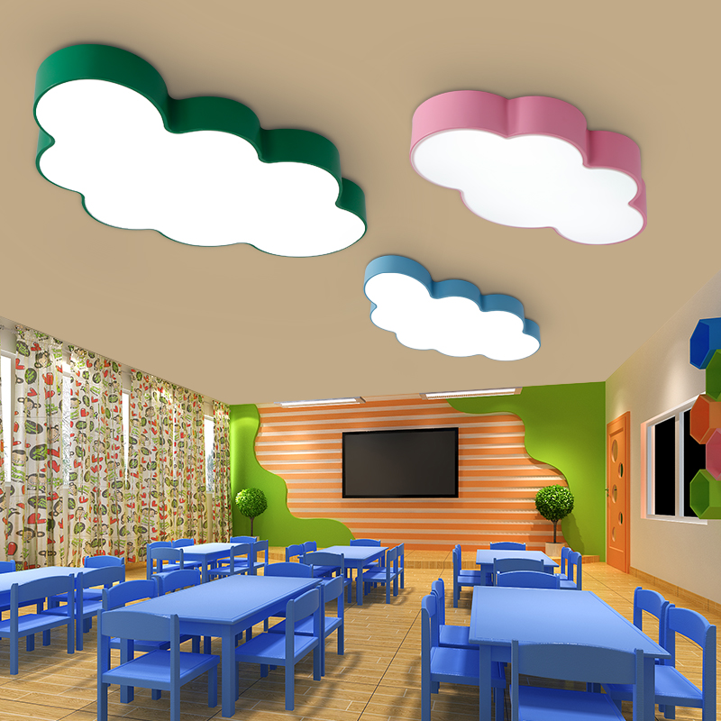 Cartoon Creative Fairytale Lovely Clouds Design 3 Colors Iron Acrylic Led Ceiling Light for Kids Children's Room Bedroom