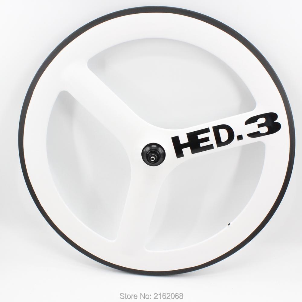 1 pièces couleur blanche 700C tubulaire jante route piste fixe vitesse vélo pleine fibre de carbone 3 rayons vélo roues avec moyeu livraison gratuite