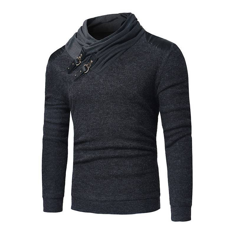 Men's Irregular Stack Collar Shirt Man Cowl Neck Long Sleeve Thin Shirts Male Summer Spring Casual Knitted Jumper Tops Plus Size