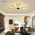 Кофейные светодиодные потолочные лампы золотого цвета для гостиной  спальни  с регулируемой яркостью  с дистанционным управлением  акрилов...
