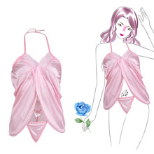 Erotic Sleepwear sexy pajamas women's pure suit temptation transparent show breasts large size sexy open princess dress(China)