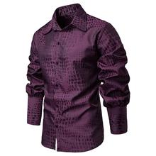 Unique Sleeve design Stage Mens Dress Shirts Crocodile pattern Camisa masculina Hawaiian Shirt clothing Blouse Men