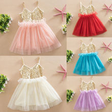 Princess Baby Girl Bowknot Lace Dress Wedding Party Dresses Toddler Kids Sequins Sleeveless Ball Gown Child Dress цена 2017