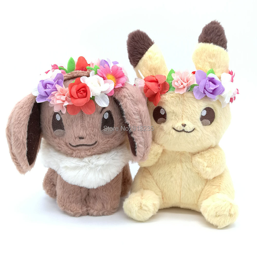 10 Lot 2 Styles Spring festival Easter wreath Pikchu 20CM Eevee 15CM Plush Doll Stuffed Toys