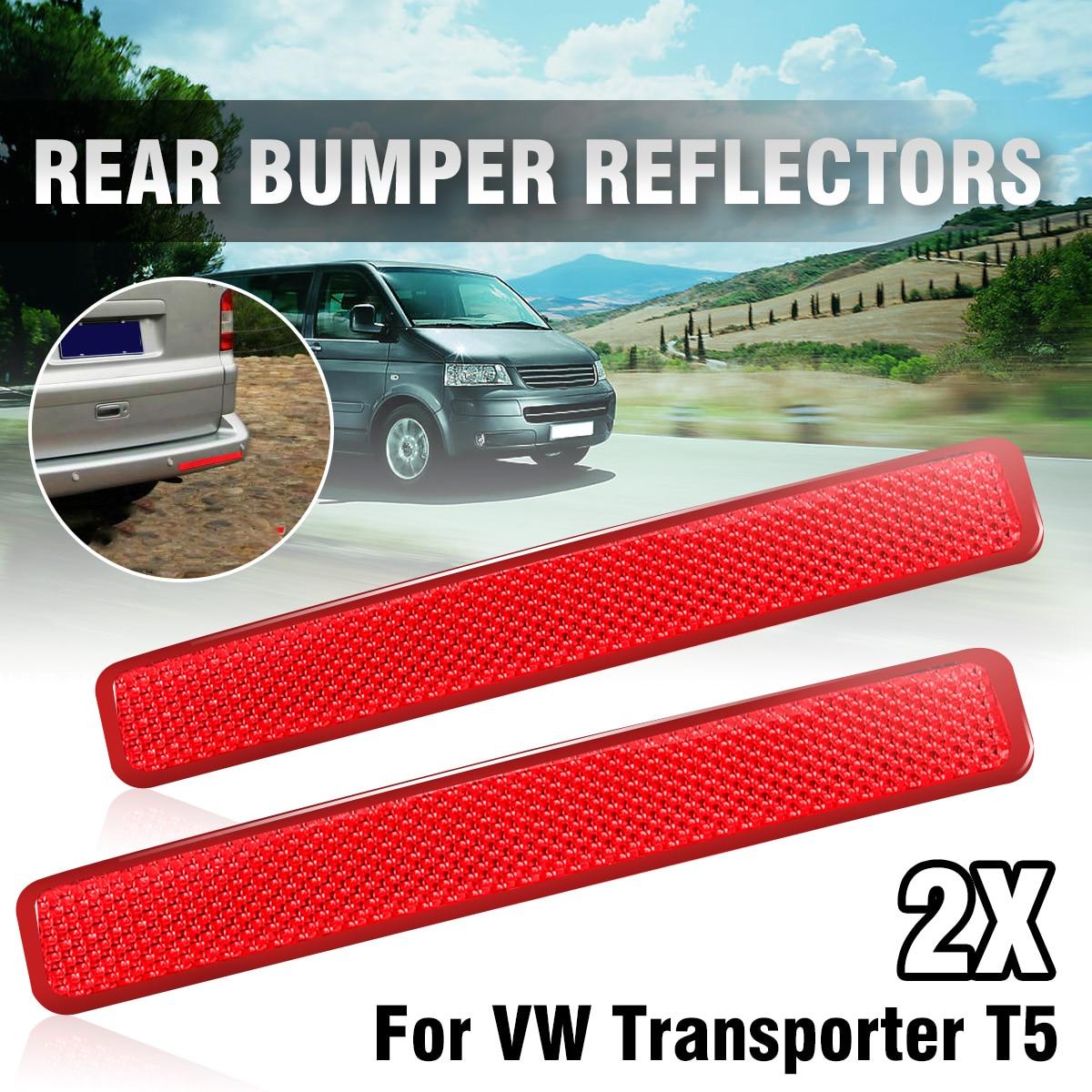 Pair Red Rear Left  amp  Right Bumper Reflector Tail Light Bars Brake Parking Warning For VW Volkswagen Transporter T5