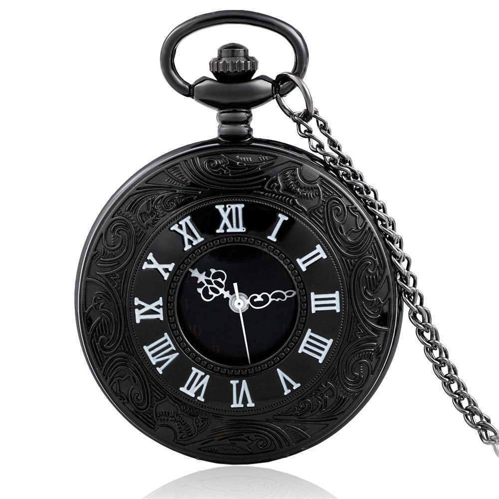 IBEINA Black Color Hollow Pocket Watch Theme Full Hunter Quartz Engraved Fob Retro Pendant Pocket Watch Chain Gift