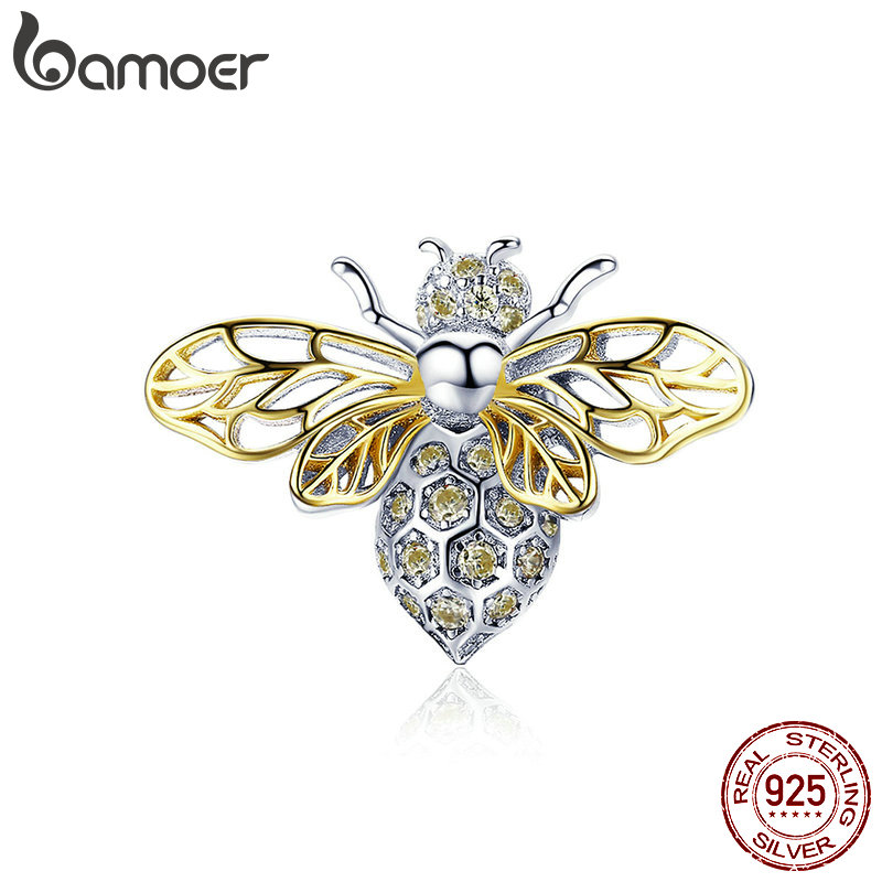 BAMOER Hot Sale Authentic 925 Sterling Silver Crystal Bee Beads Charms fit for Original Charms Women Luxury DIY Jewelry BSC067BAMOER Hot Sale Authentic 925 Sterling Silver Crystal Bee Beads Charms fit for Original Charms Women Luxury DIY Jewelry BSC067