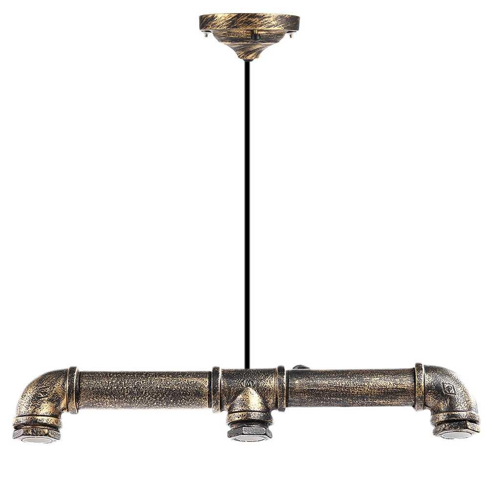 Светодиодный E27 Ретро Винтаж личность железа водопровод в форме висит подвесной светильник держатель света