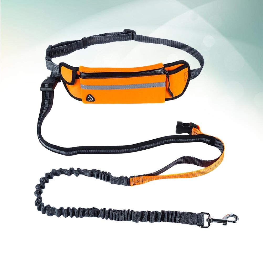 E Cane Guinzaglio Con Le Vita Pet Regolabile Libere Da Trekking A Piedi Tasca Scarpe Per Del Corsa Sacchetto Mani Jogging arancione qIwYIfz