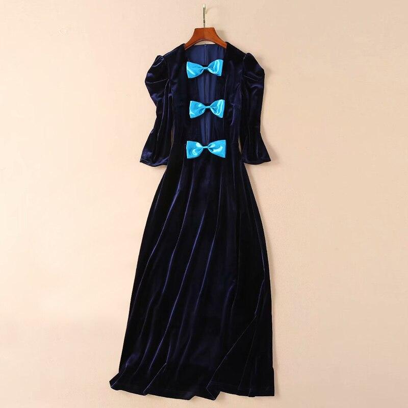 blue bow tie low cut deep v neck women sexy dress runway 2019 velvet long dress
