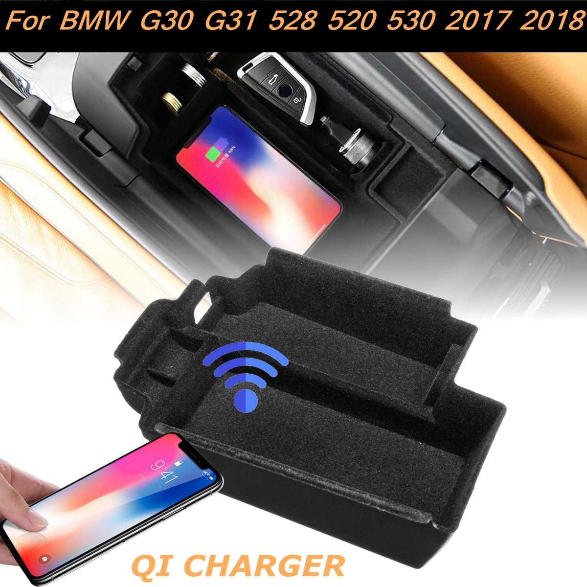 ABS Phone Wireless Charging Central Armrest Storage Box For BMW G30 G31 5-Series 528 520 530 2017-2018 LHD