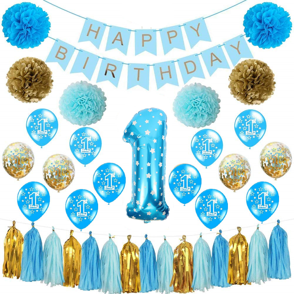 38pcs First Birthday Decorations For 1st Baby Boy Number One Balloons Happy Banner Bday Party Supply