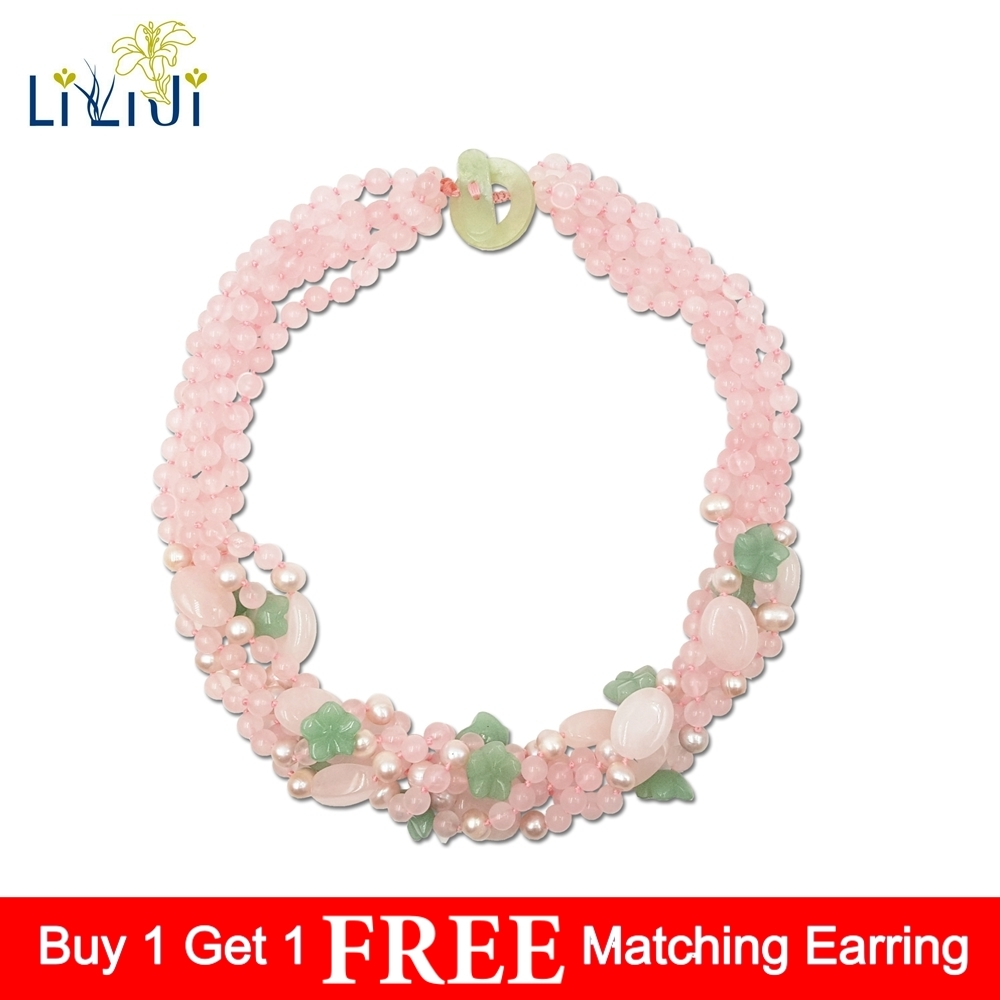 Natural Rose Quartzs Green Aventurine Flowers Freshwater Pearl 5 Rows Necklace 50cm Women Jewelry