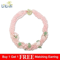 Natural Rose Quartzs,Green Aventurine Flowers,Freshwater Pearl 5 Rows Necklace 50cm Women Jewelry