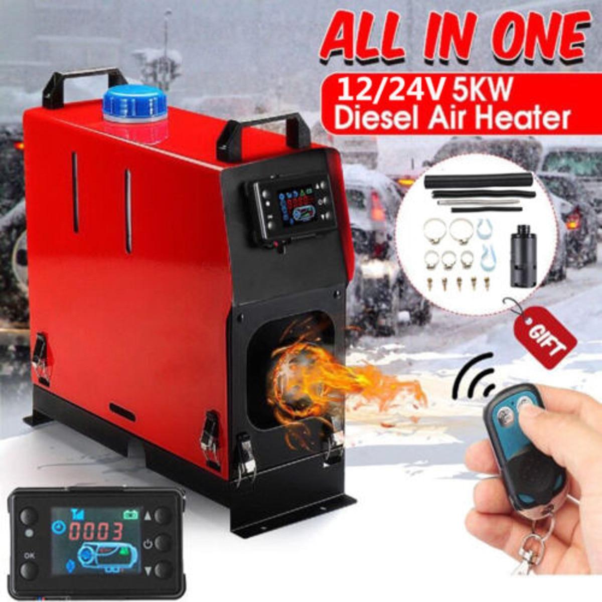 Tout en un 5000 W Air diesels chauffage de stationnement 5KW 12 V voiture chauffage pour camions camping-cars bateaux Bus + LCD interrupteur à clé + télécommande