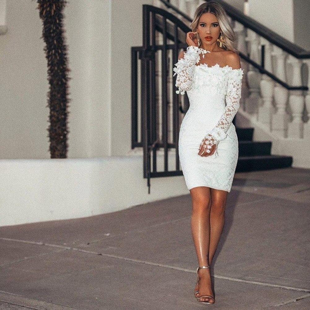 Летние белые вечерние платья женские с длинным рукавом с открытыми плечами Сексуальные вечерние пляжные короткие мини платья Vestidos женский ...