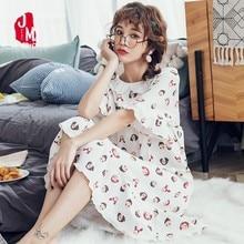 Summer Cotton Nightgowns Lace Nightdress Patchwork Floral Lingerie Homewear Casual Sleepwear Dress Plus Size M-4XL Night Dress plus contrast floral lace night dress