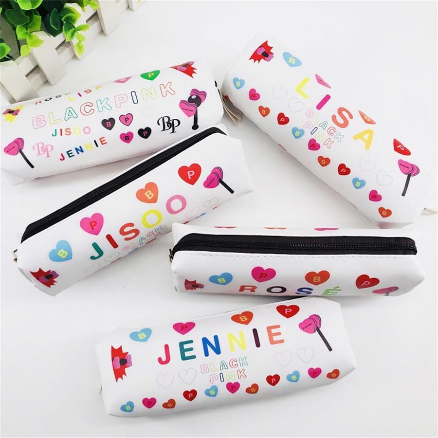 Kpop Blackpink Protable Coin Bag Leather Pencil Pen Bag Lisa Rose Cosmetic Makeup Bag School Supplies