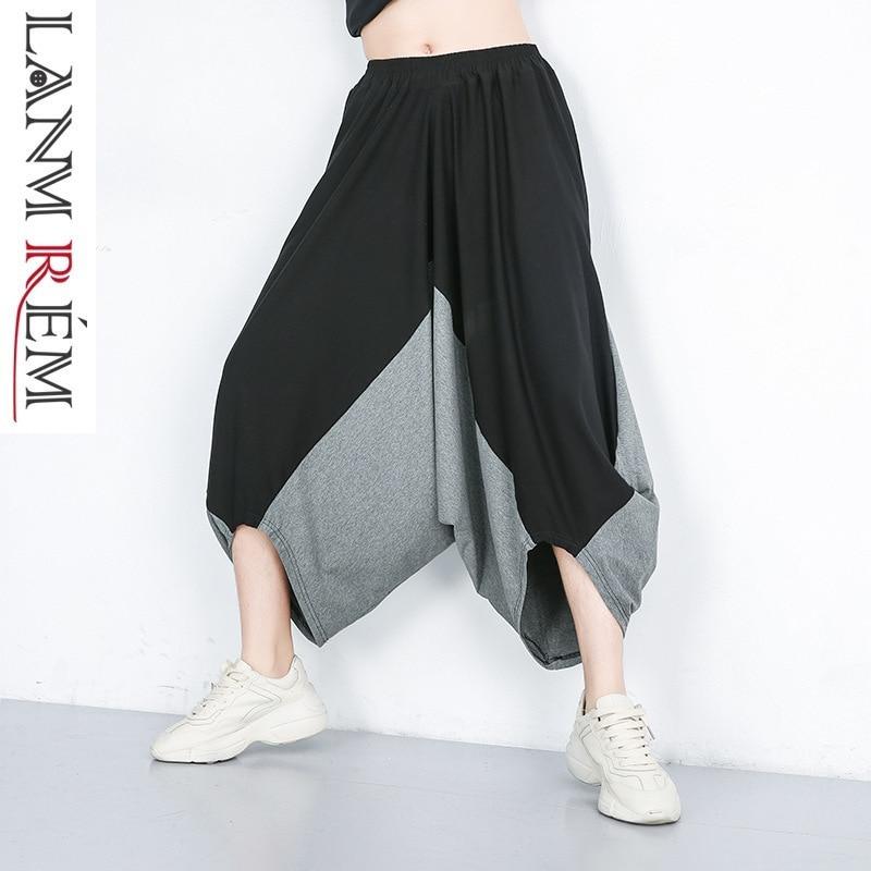 LANMREM 2019 Spring Summer New Clothes For Women Elastic Waist Split Joint   Wide     Leg     Pants   Tide Contrast Color Trousers YH09201
