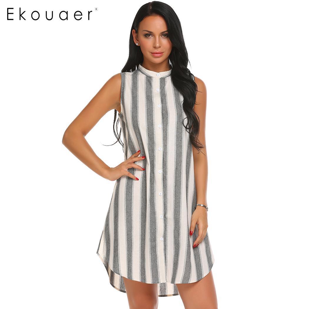 Ekouaer Women Nighties Nightgown Cotton Sleepwear Dress O-Neck Sleeveless Striped Hem Split Casual Sleep Nightdress