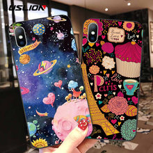 Funda de relieve de dibujos animados de USLION 3D para iPhone 11 Pro Max XR Xs Max fundas de silicona suave para iPhone 6 6S 8 7 Plus 5 5S SE(China)