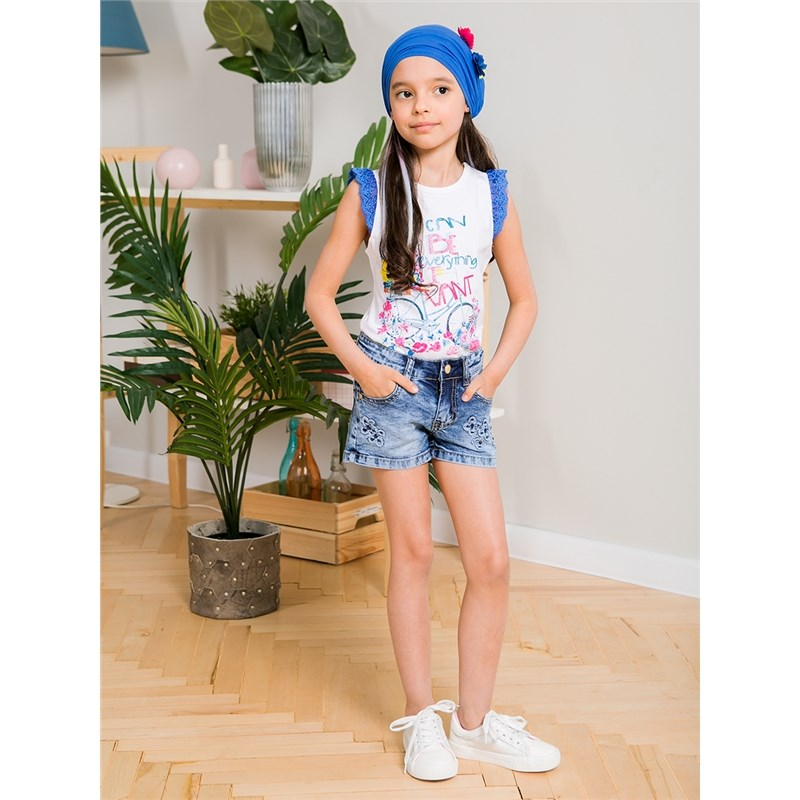 Shorts Sweet Berry Girls denim shorts children clothing girls frill trim top with shorts