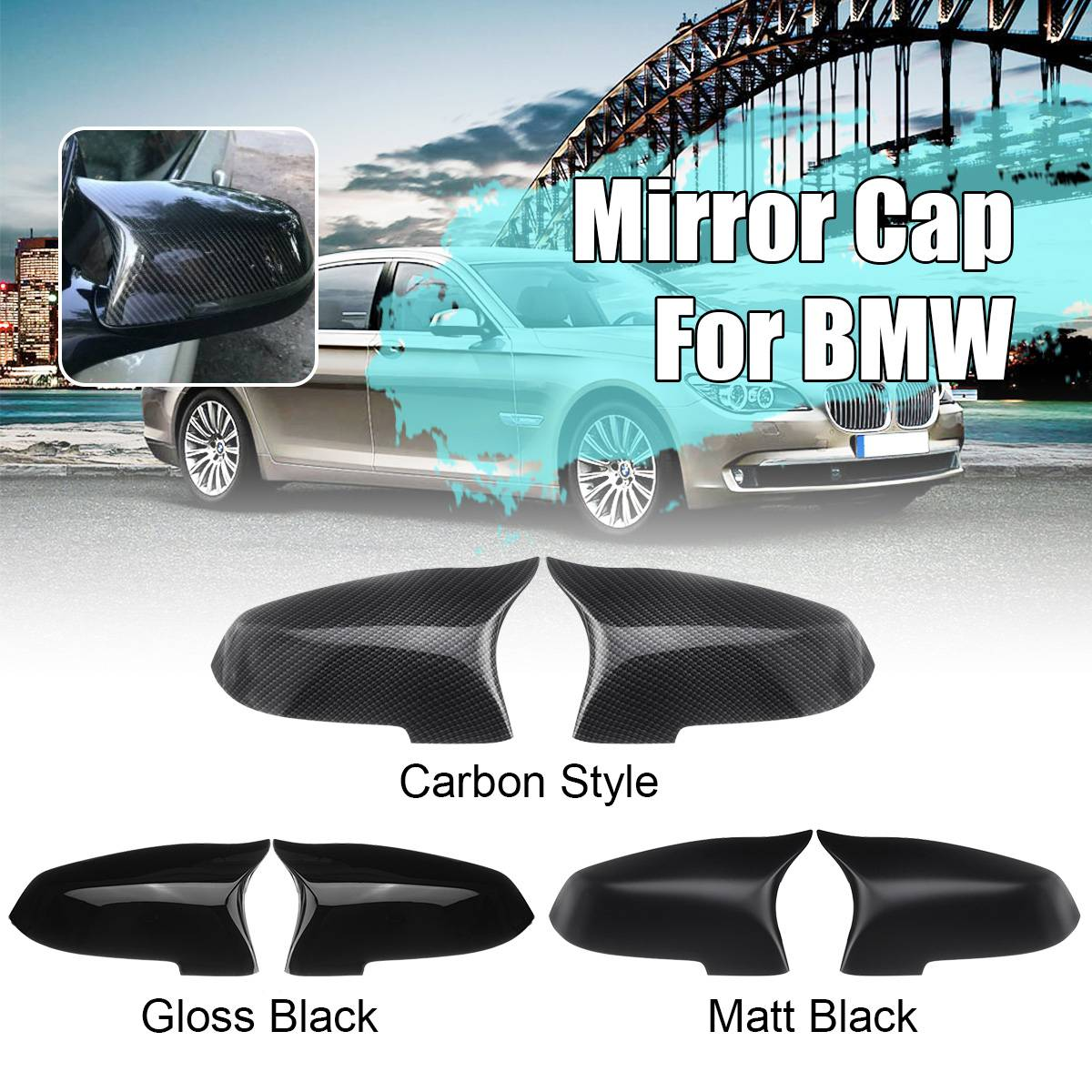 Pair LH RH Side Rearview Mirror Cover Cap For BMW 5 6 7 Series F10 F18 F11 F06 F07 F12 F13 F01 2014 2015 2016 Mirror Covers