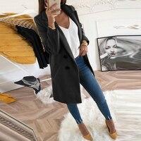 Женское осенне-зимнее шерстяное пальто с длинным рукавом, отложным воротником, более размерный Блейзер, верхняя одежда, куртка, элегантное ...