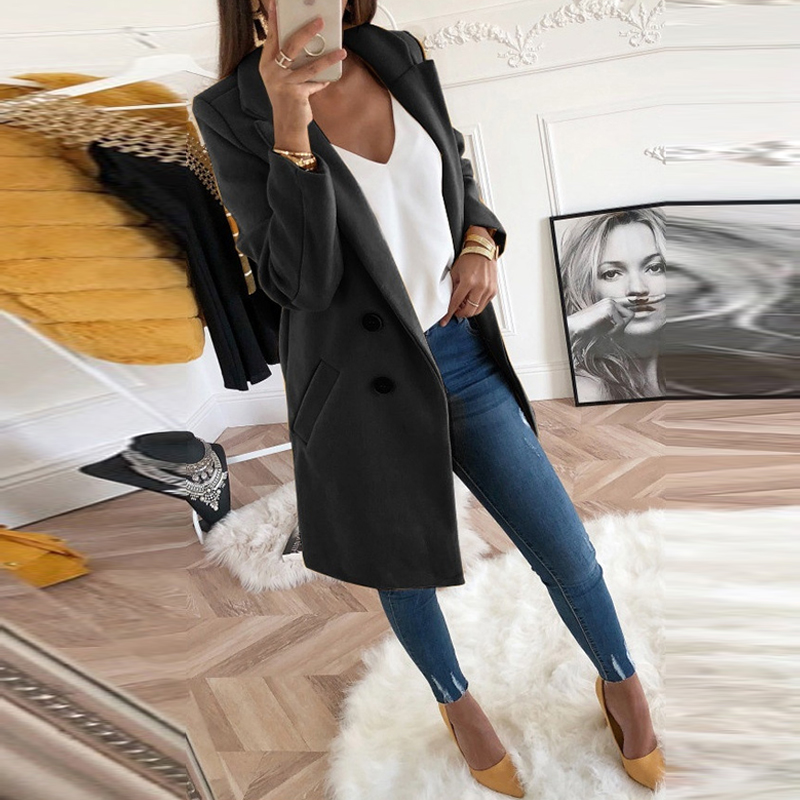 Женское осенне зимнее шерстяное пальто с длинными рукавами и отложным воротником, оверсайз блейзер, верхняя одежда, куртка, элегантные пальто свободного кроя, большие размеры