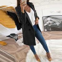 Donne Autunno Inverno Cappotto di Lana a Maniche Lunghe Gira-Imbottiture Colletto Oversize Giacca Outwear Giacca Elegante Cappotti Allentato Più Il Formato