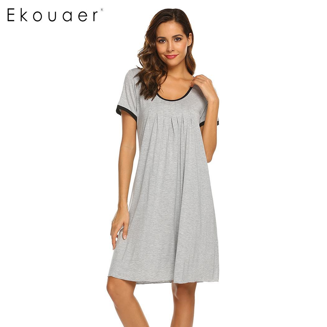 Ekouaer Women Nighties   Nightgown     Sleepshirts   Round Neck Short Sleeve Solid Nightdress Summer Sleepwear Dress Home Clothing